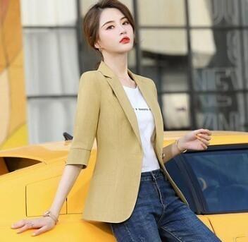 黃色小西裝外套女氣質短款小個子七分袖西服上衣薄款7268#F3062韓衣裳