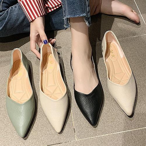 尖頭鞋.韓版氣質優雅皮革壓紋淺口平底包鞋.白鳥麗子