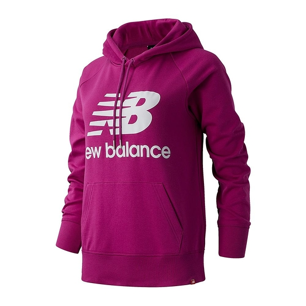 New Balance 女裝 長袖 連帽 休閒 基本款 大LOGO 袋鼠口袋 紫【運動世界】AWT03550JJL