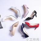 2020春秋季新款韓版百搭尖頭淺口細跟高跟鞋時尚漆皮職業少女單鞋 小艾新品