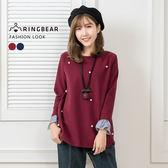 長版上衣--典雅珍珠釘珠氣質細褶袖口長短下襬假兩件上衣(紅.藍XL-4L)-X262眼圈熊中大尺碼