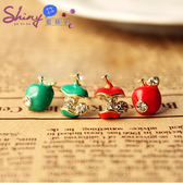 【20A84】shiny藍格子-可愛春彩.滴釉不對稱設計小蘋果造型耳環