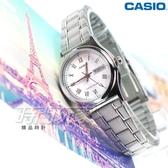 CASIO卡西歐 LTP-V006D-7B 經典簡約時尚 纖細小圓錶 白色 女錶 指針錶 不銹鋼 LTP-V006D-7BUDF