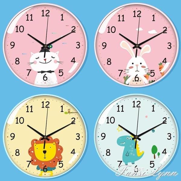 卡通靜音掛鐘創意可愛兒童房壁鐘錶臥室客廳家用時尚簡約掛墻時鐘 范思蓮恩