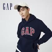 Gap男裝 碳素軟磨系列 Logo刷毛連帽休閒上衣 791339-海軍藍