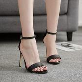 高跟涼鞋 高跟鞋 歐美時尚性感高跟女涼鞋一字帶簡約百搭女鞋韓版女鞋子【多多鞋包店】ds4092