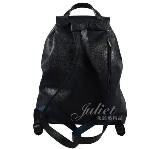茱麗葉精品 二手精品【9.5成新】Longchamp Le Pliage 經典牛皮束口扣式後背包.深藍