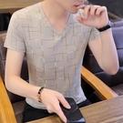 V領男T恤 男士短袖t恤冰絲V領潮流夏季新款半袖體恤男裝韓版青年修身上衣服 歐歐