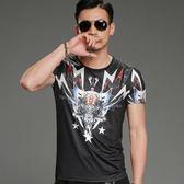 男T恤短袖 韓版潮T 休閒 夏季修身圓領短袖衫歐美風個性印花T恤wx3502