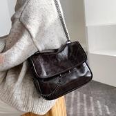 側背大容量包包女2021秋冬新款時尚高級感洋氣菱格鍊條包復古斜背 韓國時尚週 免運