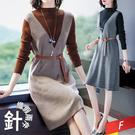 假兩件高領羅紋背心洋裝+腰帶(2色) F...