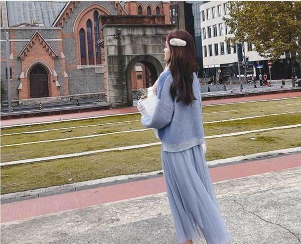 I8839# 春時尚半身紗裙高腰長裙網紗亮絲裙子女 &小咪的店&
