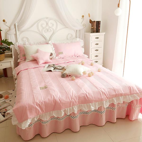 純棉鋪棉床罩組 安妮兒 粉紅色 高品質 5尺 標準雙人 兩用被 薄床罩 冬夏兩用被 鋪棉被套 佛你