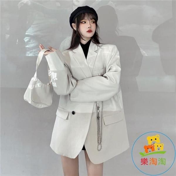 鏈條墊肩小西裝女韓版暗黑氣質西服外套潮 樂淘淘