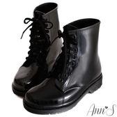 Ann'S可愛俐落-綁帶馬汀雨靴 黑