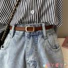 皮帶韓國新款小腰帶褲帶學生皮帶方扣簡約百搭時尚裝飾復古韓版真皮女 愛丫