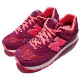 【六折特賣】New Balance 復古慢跑鞋 574 NB 紅 粉紅 麂皮 復古 運動鞋 女鞋【PUMP306】 WL574NLBB