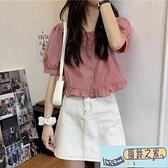 短袖襯衫女夏季新款韓版甜美小清新泡泡袖木耳邊方領短款【風鈴之家】