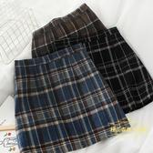 L253韓系ins秋冬款氣質高腰包臀顯瘦復古顯瘦格子毛呢半身裙短裙