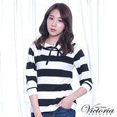 Victoria 兩面可穿緞帶拉克蘭七分袖T-女-白底黑條