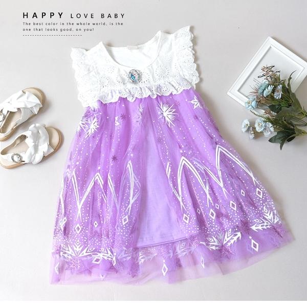 夢幻冰雪艾莎亮片洋裝 春夏童裝 女童洋裝 女童長版 女童連身裙 女童傘裙