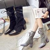 中筒靴2019韓版彈力靴尖頭拼接襪靴粗跟高跟女靴顯瘦短靴女 XN7852【Rose中大尺碼】