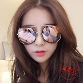 雙十一返場促銷新款墨鏡女眼鏡新款圓形彩色太陽鏡女圓臉韓國復古眼鏡