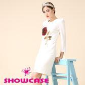 【SHOWCASE】亮片玫瑰顯瘦短袖合身洋裝(白)