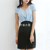 春夏新款韓版修身百搭女打底裙大碼短袖顯瘦時尚洋裝  快速出貨