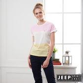 【JEEP】女裝 清新造型拼接短袖TEE-粉