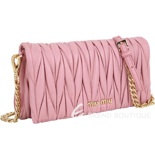 miu miu Matelassé 皺褶納帕羊皮手拿/斜背包(粉色) 1740334-05
