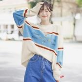 新款泫雅風條紋寬鬆打底針織衫長袖拼色字母套頭毛衣女 限時熱賣