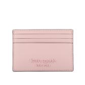 【KATE SPADE】防刮皮革浮雕Logo卡片夾(粉色) WLR00366 955