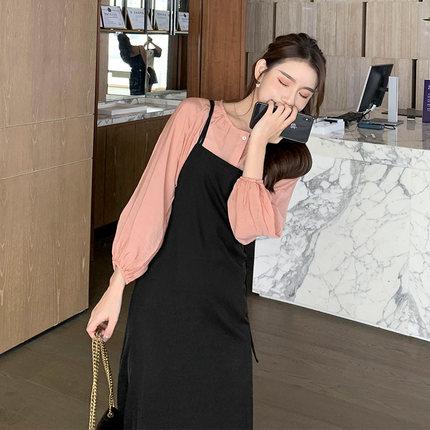 早春秋裝2021年新款潮大碼網紅氣質吊帶連衣裙子減齡女裝小個子連身裙早春秋款歐貨網紅chic