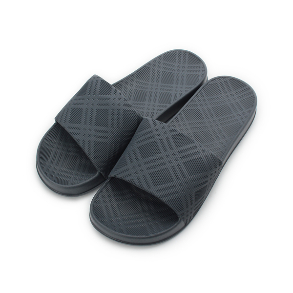 SLIPA 菱格壓紋室內拖鞋 深灰 MA52 男鞋 鞋全家福