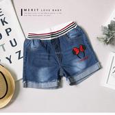 中大童 可愛點點米妮髮箍刺繡牛仔褲 短褲 愛心 反摺 口袋 條紋褲頭 女童 哎北比童裝