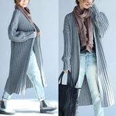 秋冬裝韓版大尺碼女裝文藝 中長款寬鬆長袖開胸披風針織毛衣‧復古‧衣閣