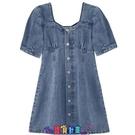 牛仔洋裝 短袖洋裝大碼胖MM牛仔裙連身裙女夏季復古方領泡泡袖可甜可鹽顯瘦收腰裙子 寶貝計畫