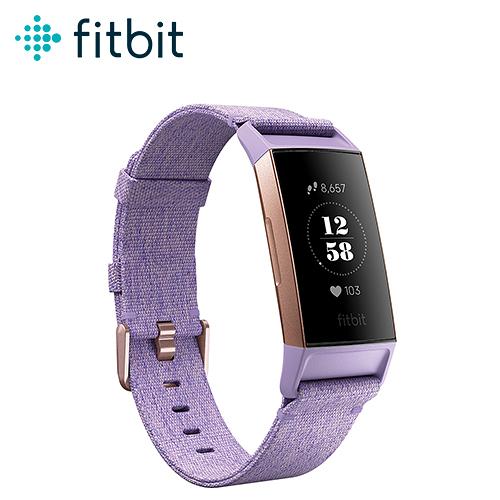 【Fitbit】Charge 3 智慧運動手環 特別款(玫瑰金框紫編織錶帶)