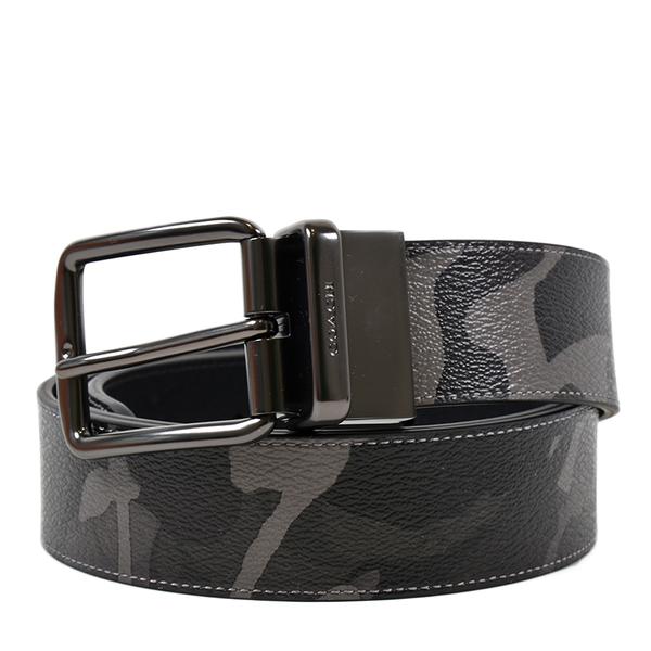 美國正品 COACH 男款 灰迷彩鐵灰釦頭雙面用寬版皮帶-黑色【現貨】