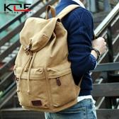 韓版男士帆布後背包學院大學生書包復古電腦背包大容量 黛尼時尚精品