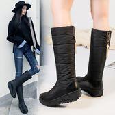 新年鉅惠冬季保暖防滑中筒靴戶外防水雪地靴厚底羽絨靴加毛加厚女棉靴大碼