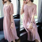 【韓國KW】(預購) S~XL 甜美圓點雪紡兩件套裙