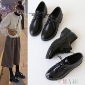 新品中跟鞋配西裝的小皮鞋女英倫復古配裙子學院風秋季日系中跟皮鞋加絨冬jk 芊墨左岸