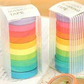 Qmishop 清新可愛糖果色手撕彩色日本和紙膠帶可寫字 DIY貼紙10入 創意可愛文具膠帶【J1064】