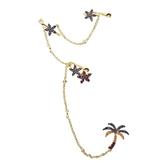 apm MONACO法國精品珠寶 閃耀金色鑲鋯熱帶花卉鍊條耳骨夾耳環 AE12513MY