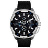 DIESEL 數度空間三眼計時時尚男錶-藍黑x黑錶帶