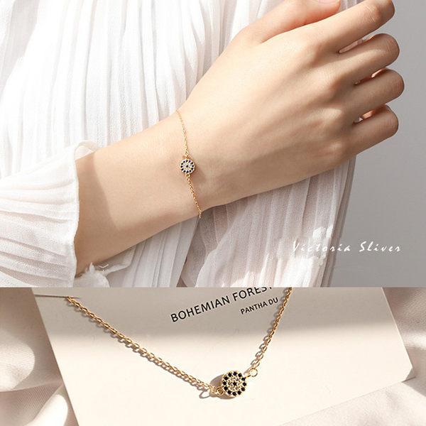 S925純銀 惡魔之眼精緻小巧優雅手鍊-維多利亞180638
