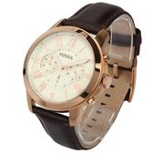 FOSSIL 經典羅馬時標三眼計時皮革腕錶44mm(FS4991)270513