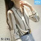 【V3398】shiny藍格子-輕盈知性.配色條紋翻領長袖襯衫